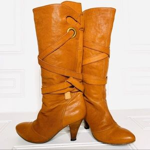 Shoes - Eblan leather  heeled boots with leather straps